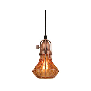 Lani Weathered Copper 6-Inch One-Light Pendant with Amber Crackle Glass