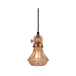 Lani Weathered Copper 6-Inch One-Light Pendant with Clear Crackle Glass