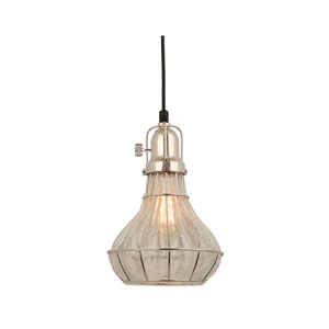 Lani Polished Nickel 8-Inch One-Light Pendant with Clear Crackle Glass