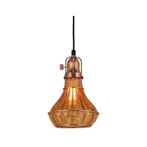 Lani Weathered Copper 8-Inch One-Light Pendant with Amber Crackle Glass