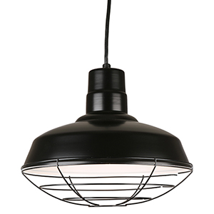 Warehouse Black 14-Inch Steel Pendant with Wire Guard