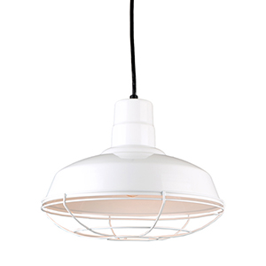 Warehouse White 14-Inch Steel Pendant with Wire Guard
