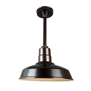 Warehouse Oil Rubbed Bronze 14-Inch Pendant with 12-Inch Downrod