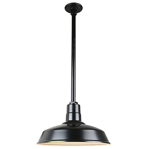 Warehouse Black 14-Inch Aluminum Pendant with 12-Inch Downrod