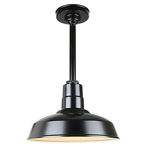 Warehouse Black 14-Inch Pendant with 12-Inch Downrod