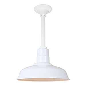Warehouse White 14-Inch Aluminum Pendant with 12-Inch Downrod