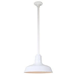 Warehouse White 14-Inch Aluminum Pendant with 24-Inch Downrod