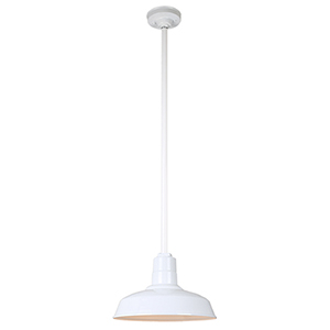 Warehouse White 14-Inch Pendant with 36-Inch Downrod