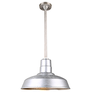 Warehouse Galvanized 14-Inch Pendant with 12-Inch Downrod