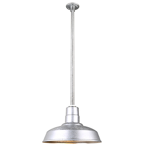 Warehouse Galvanized 14-Inch Aluminum Pendant with 36-Inch Downrod