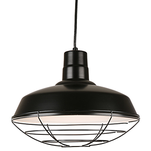 Warehouse Black 16-Inch Steel Pendant with Wire Guard