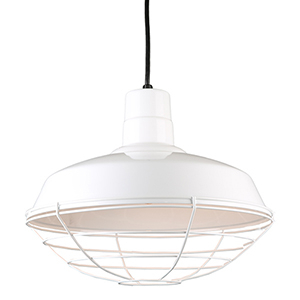 Warehouse White 16-Inch Steel Pendant with Wire Guard