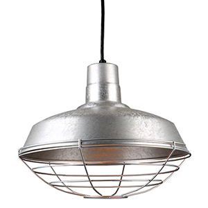 Warehouse Galvanized 16-Inch Steel Pendant with Wire Guard