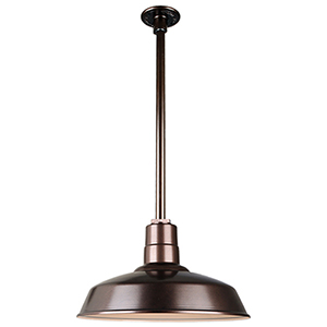 Warehouse Oil Rubbed Bronze 16-Inch Pendant with 24-Inch Downrod
