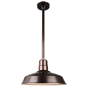 Warehouse Oil Rubbed Bronze 16-Inch Aluminum Pendant with 24-Inch Downrod
