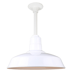 Warehouse White 16-Inch Pendant with 12-Inch Downrod