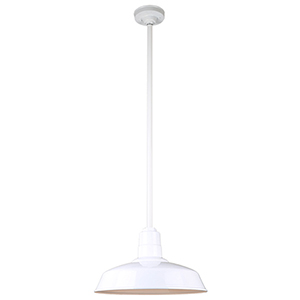 Warehouse White 16-Inch Aluminum Pendant with 36-Inch Downrod