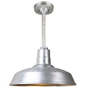Warehouse Galvanized 16-Inch Aluminum Pendant with 12-Inch Downrod