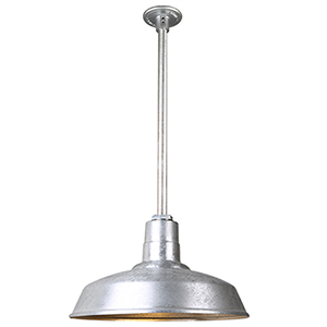 Warehouse Galvanized 16-Inch Pendant with 24-Inch Downrod
