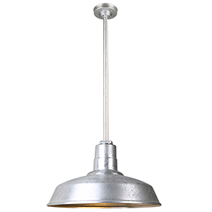Warehouse Galvanized 16-Inch Aluminum Pendant with 36-Inch Downrod