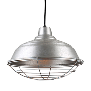 Warehouse Galvanized 17-Inch Steel Pendant with Wire Guard