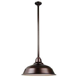 Warehouse Oil Rubbed Bronze 17-Inch Pendant with 36-Inch Downrod