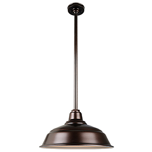 Warehouse Oil Rubbed Bronze 17-Inch Aluminum Pendant with 36-Inch Downrod