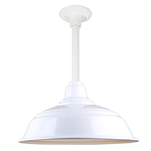 Warehouse White 17-Inch Pendant with 12-Inch Downrod