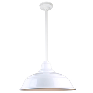 Warehouse White 17-Inch Aluminum Pendant with 24-Inch Downrod