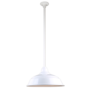 Warehouse White 17-Inch Pendant with 36-Inch Downrod