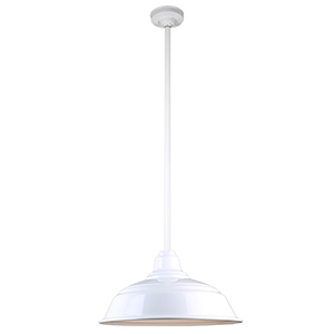 Warehouse White 17-Inch Aluminum Pendant with 36-Inch Downrod