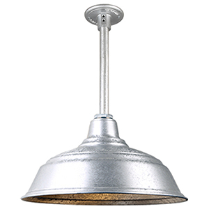 Warehouse Galvanized 17-Inch Pendant with 12-Inch Downrod