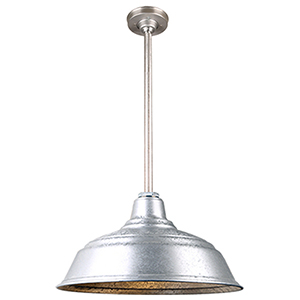 Warehouse Galvanized 17-Inch Aluminum Pendant with 24-Inch Downrod