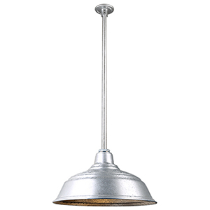 Warehouse Galvanized 17-Inch Pendant with 36-Inch Downrod
