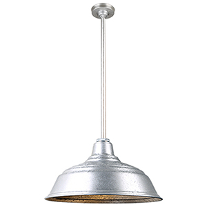 Warehouse Galvanized 17-Inch Aluminum Pendant with 36-Inch Downrod
