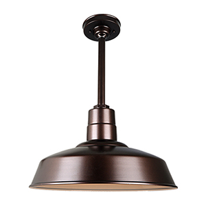 Warehouse Oil Rubbed Bronze 18-Inch Aluminum Pendant with 12-Inch Downrod