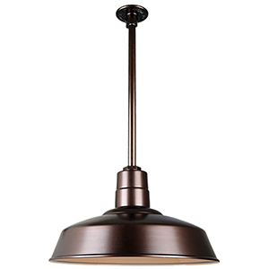 Warehouse Oil Rubbed Bronze 18-Inch Pendant with 24-Inch Downrod