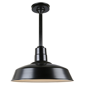 Warehouse Black 18-Inch Aluminum Pendant with 12-Inch Downrod