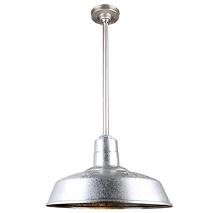 Warehouse Galvanized 18-Inch Aluminum Pendant with 24-Inch Downrod