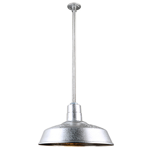 Warehouse Galvanized 18-Inch Pendant with 36-Inch Downrod