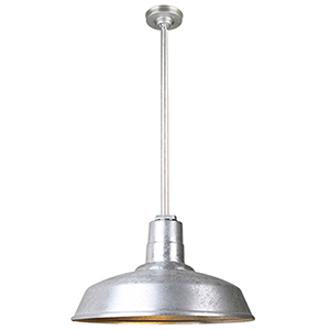 Warehouse Galvanized 18-Inch Aluminum Pendant with 36-Inch Downrod