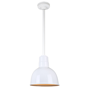 Warehouse White 10-Inch Aluminum Pendant with 24-Inch Downrod