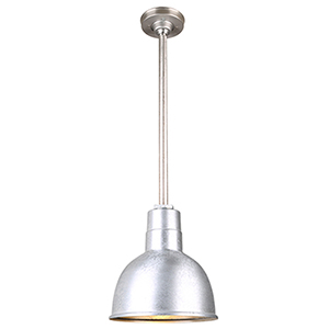 Warehouse Galvanized 10-Inch Aluminum Pendant with 24-Inch Downrod