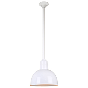 Warehouse White 12-Inch Pendant with 24-Inch Downrod