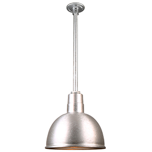 Warehouse Galvanized 12-Inch Pendant with 24-Inch Downrod