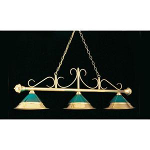 Polished Brass and Bronze 16-Inch Three-Light Billiard Light