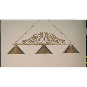 Polished Brass and Bronze 11-Inch Three-Light Billiard Light