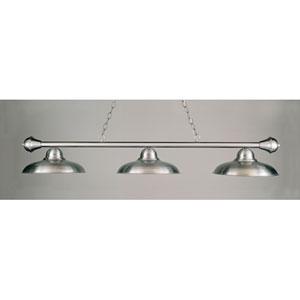 Satin Steel and Nickel 11-Inch Three-Light Billiard Light