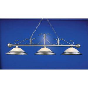Satin Steel 16-Inch Three-Light Billiard Light