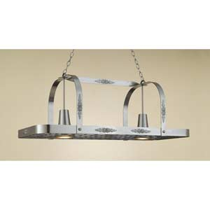 Monterey Satin Steel Lighted Pot Rack